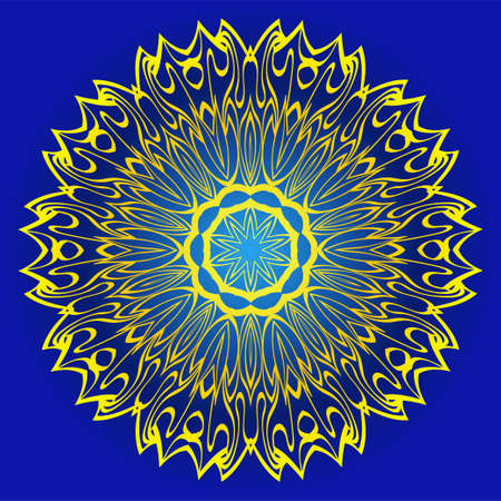 Decorative Round Ornament Mandala From Floral Elements. Vector Illustration. Oriental Pattern. Indian, Moroccan, Mystic, Ottoman Motifs. Anti-Stress Therapy Pattern. Blue, yellow color. Illusztráció