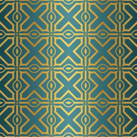 Ornamental Design. Modern Seamless Geometry Pattern. Vector Illustration. For Interior Design, Printing, Web And Textile Design. Gold blue color.