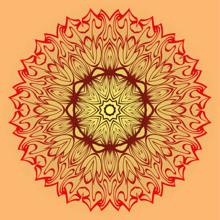Vector Illustration. Modern Decorative Floral Mandala. Hand Drawn Background. Islam, Arabic, Indian, Ottoman Motifs. Sunrise color.