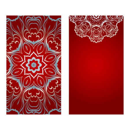Vintage Invitation Card With Mandala Pattern. The Front And Rear Side. Beautiful Ornament. Vector Illustration. red silver color. Ilustração
