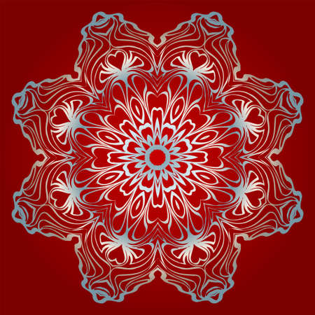 Decorative Round Mandala From Floral Elements. Vector Illustration. For Coloring Book, Greeting Card, Invitation, Tattoo. Anti-Stress Therapy Pattern. Silver, red color.