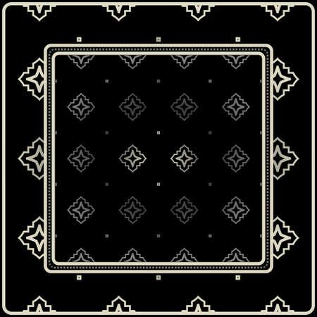 Design Print For Kerchief. The Pattern Of Geometric Ornament. Vector Illustration. The Idea For Design Prints For Neck Scarves, Carpets, Bandanas. Black silver color.