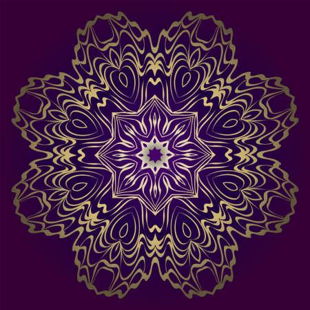 Motif rond de fleur. Illustration vectorielle. Pour la conception, le mariage d'invitation, la Saint-Valentin, l'arrière-plan, le papier peint, l'intérieur. Couleur or violet.