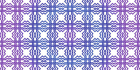 Vector Seamless Pattern With Abstract Traditional Geometric Style. Repeating Sample Figure And Line. Paper For Scrapbook. Blue purple gradient.