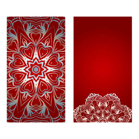 Floral Banners. Ethnic Mandala Ornament. Vector Illustration. For Greeting Card, Coloring Book, Invitation Print. Red, silver color.