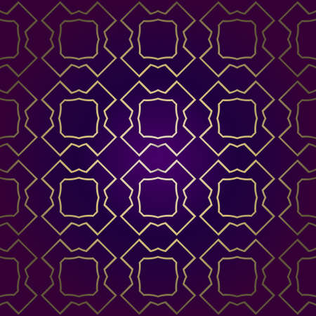 Stylish Geometric Texture. Repeating Background With Chaotic Forms. Vector Ornament. For Wallpaper, Fashion, Print, Scrapbook Paper, Advert, Business, Presentation. Luxury design in purple gold color Vektoros illusztráció