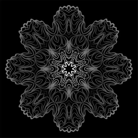 Design With Floral Mandala Ornament. Vector Illustration. Oriental Pattern. Indian, Moroccan, Mystic, Ottoman Motifs. Anti-Stress Therapy Pattern. Black, silver color.