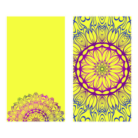 Vintage Invitation Card With Mandala Pattern. The Front And Rear Side. Beautiful Ornament. Vector Illustration. Purple yellow color.