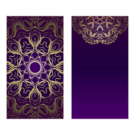 Ethnic Mandala Ornament. Templates With Mandalas. Vector Illustration For Congratulation Or Invitation. The Front And Rear Side. Luxury, purple godl color.