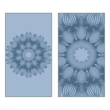 Indian Ornament Illustration Concept. Ethnic, Colorful Henna Mandala Design. Vector Decorative Layout Design. Pastel blue color.
