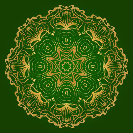 Traditional Ornamental Floral Mandala. Vector Illustration. For Coloring Book, Greeting Card, Invitation, Tattoo. Anti-Stress Therapy Pattern. Green gold color.