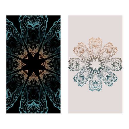 Relax Cards With Mandala Formed Flowers, Boho Style, Vector Illustration. For Wedding, Bridal, Valentine's Day, Greeting Card Invitation. Fantasy color. Vectores