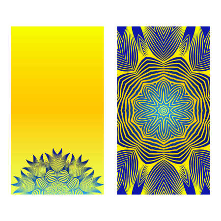 Relax Cards With Mandala Formed Flowers, Boho Style, Vector Illustration. For Wedding, Bridal, Valentine's Day, Greeting Card Invitation. Blue yellow color.