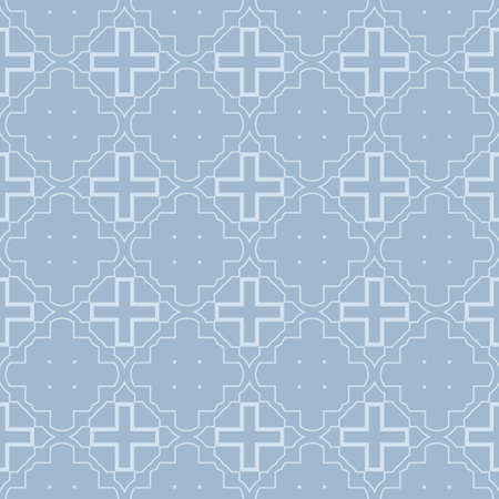 Modern Geometric Pattern Retro Ornament. Vector Super Illustration. For Fabric, Textile, Bandana, Scarg, Colored Print. Pastel blue grey color.