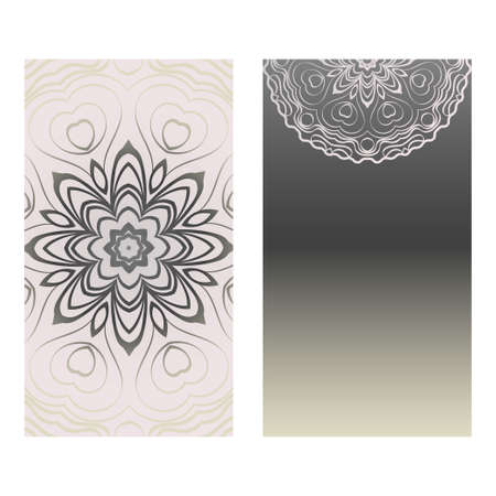 Collection Card With Relax Mandala Design. For Mobile Website, Posters, Online Shopping, Promotional Material. Grey color.