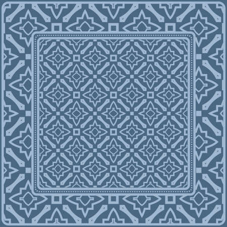 Fashion Design Print With Geometric Pattern. Vector Illustration. For Modern Interior Design, Fashion Textile Print, Wallpaper. Pastel blue color. 矢量图像