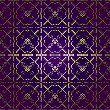 Stylish Geometric Texture. Repeating Background With Chaotic Forms. Vector Ornament. For Wallpaper, Fashion, Print, Scrapbook Paper, Advert, Business, Presentation. Luxury design in purple gold color