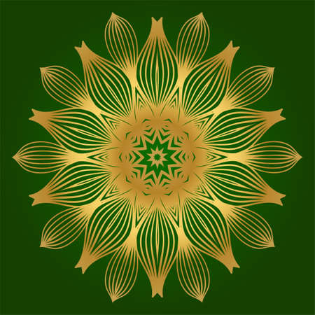 Decorative Round Lace Ornate Mandala. Vintage Vector Pattern For Print. Green gold color.