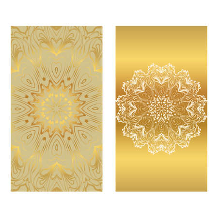 Invitation Or Card Template With Floral Mandala Pattern. For Wedding, Greeting Cards, Birthday Invitation. The Front And Rear Side. Vector Illustration. Gold color.