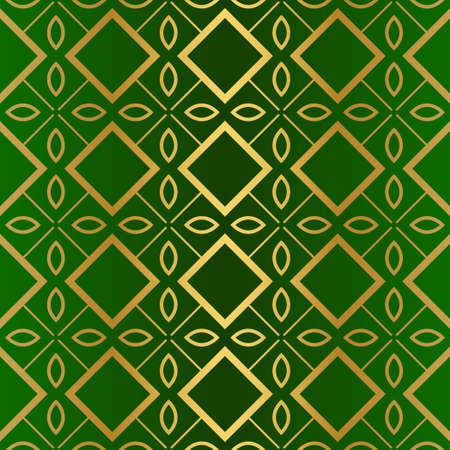 Seamless Geometric Backgrounds. Vector Illustration. Hand Drawn Wrap Wallpaper, Cover Fabric, Cloth Textile Design. Gold green color.