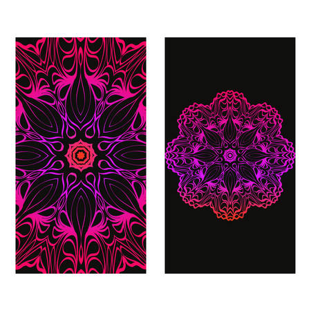 Design Vintage Cards With Floral Mandala Pattern And Ornaments. Vector Illustatration. The Front And Rear Side. Black purple color.