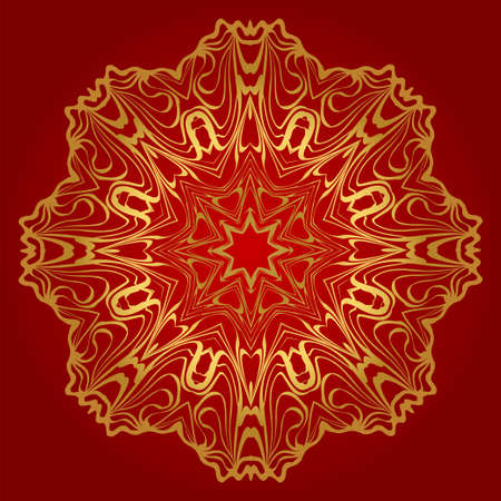 Round Floral Ornament Mandala. Vector Illustration.. For Home Decor, Interior Design, Coloring Book, Greeting Card, Invitation, Tattoo. Anti-Stress Therapy Pattern. Red, gold color.