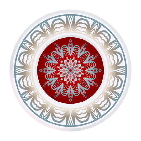 Simple Round Floral Mandala, Ethno Motive. Bright Ornament Consists Simple Shapes. Vector Illustration.. For Home Decor, Coloring Book, Greeting Card, Invitation, Tattoo. Anti-Stress Therapy Pattern.