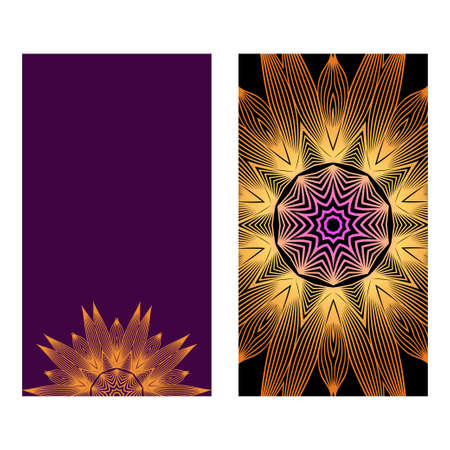 Colorful Henna Mandala Design, For Festiveflyer Background. Vector Illustration. Purple bronze color.