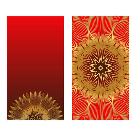 Luxury Card With Patterns Of The Mandala. Floral Ornaments. Islam, Arabic, Indian, Ottoman Motifs. Template For Flyer Or Invitation Card Design. Vector Illustration. Sunrise gold color.