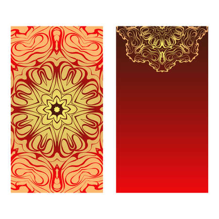 Luxury red, sunrise, gold color The Front And Rear Side. Mandala Design Elements. Wedding Invitation, Thank You Card, Save Card, Baby Shower. Vector Illustration Illustration