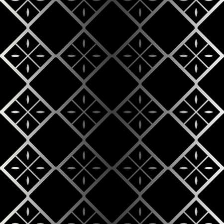 Abstract Repeat Backdrop With Lace Ornament. Seamless Design For Prints, Textile, Decor, Fabric. Super Vector Pattern. Black silver color.