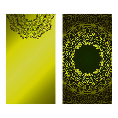 Invitation Or Card Template With Floral Mandala Pattern. Decorative Background For Wedding, Greeting Cards, Birthday Invitation. The Front And Rear Side. Green olive gradient color.