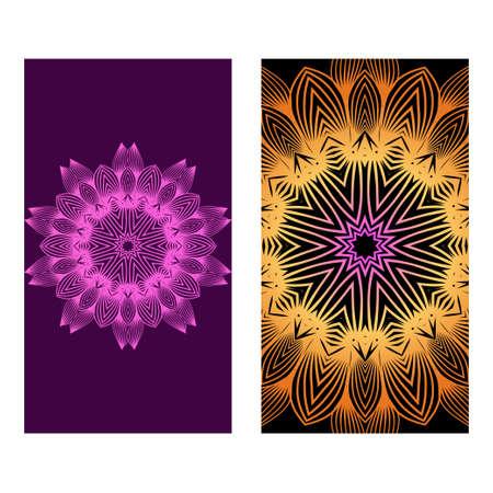 Flyers, Banner Template With Mandala Ornament. Vector Design. Ottoman, Arabic, Oriental, Turkish, Indian,Motif. Purple bronze color. 版權商用圖片 - 124481287