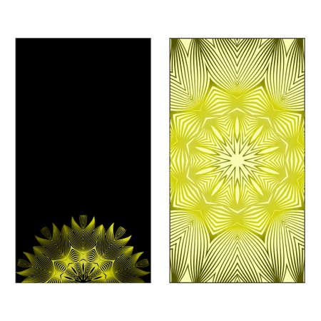 Business Cards, Invitations Or Flyaer. Floral Mandala Pattern. Oriental Design Layout. Vector Illustration. Black olive color.