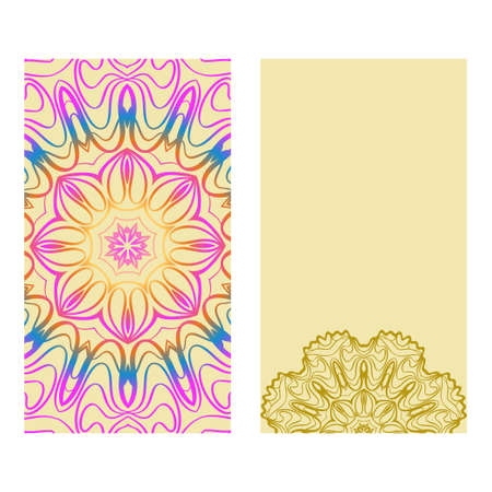 Ethnic Mandala Ornament. Templates With Mandalas. Vector Illustration For Congratulation Or Invitation. The Front And Rear Side. Rainbow, yellow color. Stock Illustratie