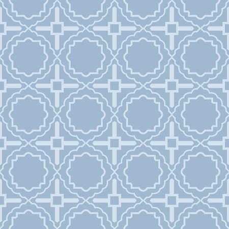 Modern Geometric Pattern Retro Ornament. Vector Super Illustration. For Fabric, Textile, Bandana, Scarg, Colored Print. Pastel blue grey color.