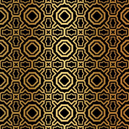 Luxury Art Deco Pattern Of Geometric Elements. Seamless Pattern. Vector Illustration. Design For Printing, Presentation, Textile Industry. Ethnic Arabic, Fashion Decorative Ornament. Black, gold color.