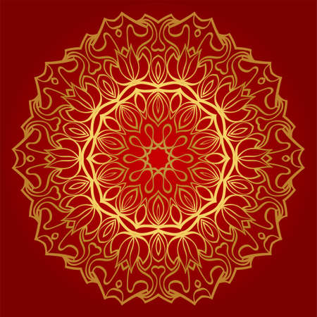 Hand-Drawn Henna Ethnic Mandala. Circle Lace Ornament. Vector Illustration. For Coloring Book, Greeting Card, Invitation, Tattoo. Anti-Stress Therapy Pattern. Red, gold color.  イラスト・ベクター素材