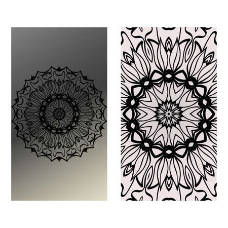 Yoga Card Template With Mandala Pattern. For Business Card, Fitness Center, Meditation Class. Vector Illustration. Black grey color. Illustration