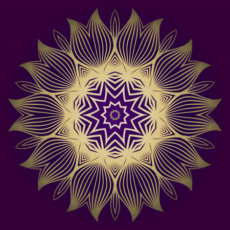 Hand Drawn Background With Mandala. Vector Decorative Elements. Arabic, Indian, Ottoman Motifs. Purple gold color.