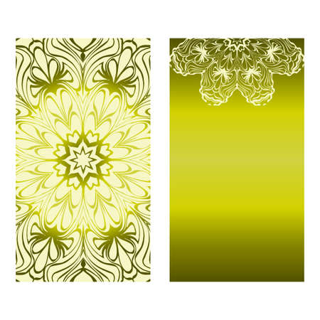 Vintage Cards With Floral Mandala Pattern. Vector Template. The Front And Rear Side. Green olive color. Vectores