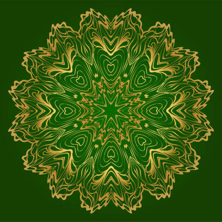 Art Deco Pattern Of Round Floral Mandala. Vector Illustration. Design For Printing, Presentation, Textile Industry. Green, gold color.