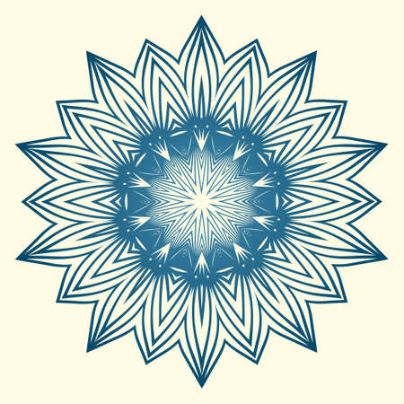 Design With Floral Mandala Ornament. Vector Illustration. For Coloring Book, Greeting Card, Invitation, Tattoo. Anti-Stress Therapy Pattern. Blue white colour