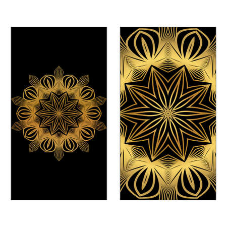 Design Template Invitations, Flyers For A Yoga Studio With Floral Mandala Pattern. Vector. Luxury black gold color.