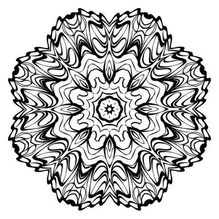 Mandala. Abstract Round Vector Illustration. Anti-Stress Therapy Pattern. Black, white. Vetores