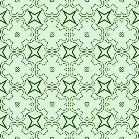 Decorative Geometric Ornament. Seamless Pattern. Vector Illustration. Tribal Ethnic Arabic, Indian, Motif. For Interior Design, Color Wallpaper. Green color. 矢量图像