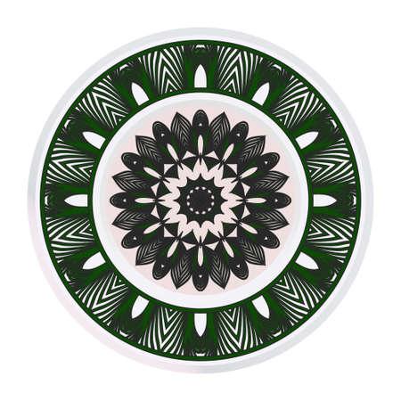 Round Floral Ornament Mandala. Vector Illustration.. For Home Decor, Interior Design, Coloring Book, Greeting Card, Invitation, Tattoo. Anti-Stress Therapy Pattern. Ilustração