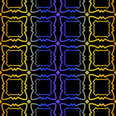 Art Deco Retro Pattern Of Geometric Elements. Seamless Pattern. Vector Illustration. Design For Printing, Presentation, Textile, Business, Advert, Flyer. Blue yellow gradient on black background. Vectores