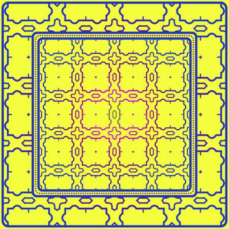 Design For Square Fashion Print. For Pocket, Shawl, Textile, Bandanna. Geometric Floral Pattern. Vector Illustration. Yellow blue color. Illustration