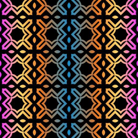 Decorative Geometric Ornament. Seamless Pattern. Vector Illustration. Tribal Ethnic Arabic, Indian, Motif. For Interior Design, Wallpaper. Rainbow color. Illustration